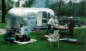 Camping at Kickapoo State Park with our 1968 Airstream Safari.